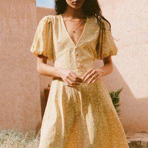 Faithfull the Brand Yellow Snakeskin Midi Dress
